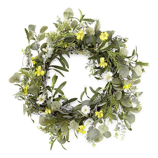 Linden Street Yellow Floral Wreath