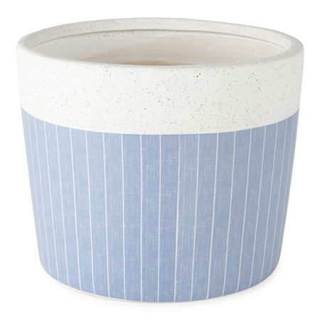 Linden Street Speckled Stone Planter Collection, One Size , Blue