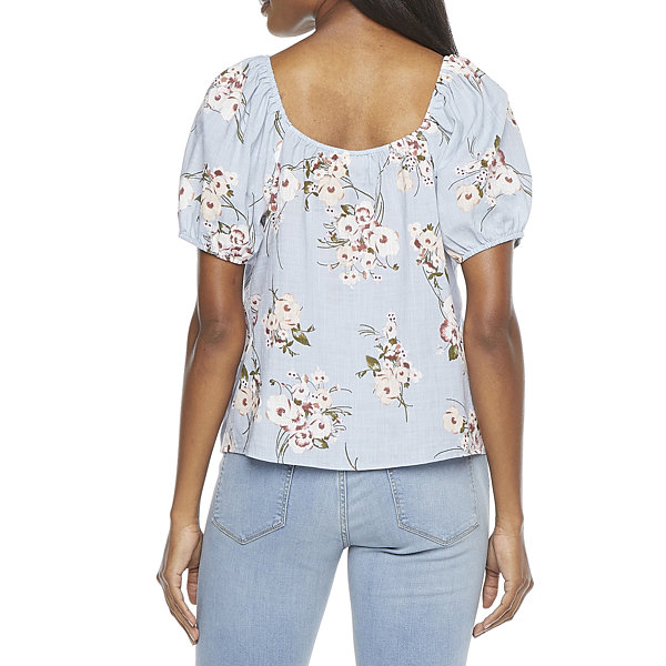 a.n.a Womens Square Neck Short Sleeve Slubbed Blouse