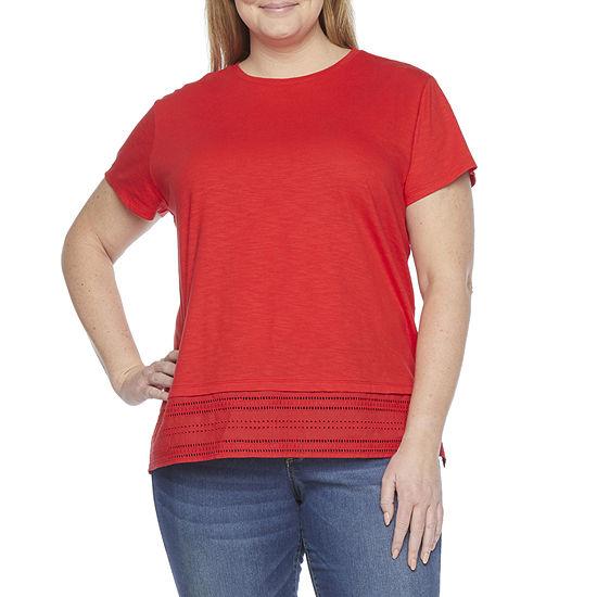 St. John's Bay Womens Plus Crew Neck Short Sleeve T-Shirt