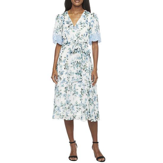 Danny & Nicole Short Sleeve Floral Clip Dot Midi Fit & Flare Dress
