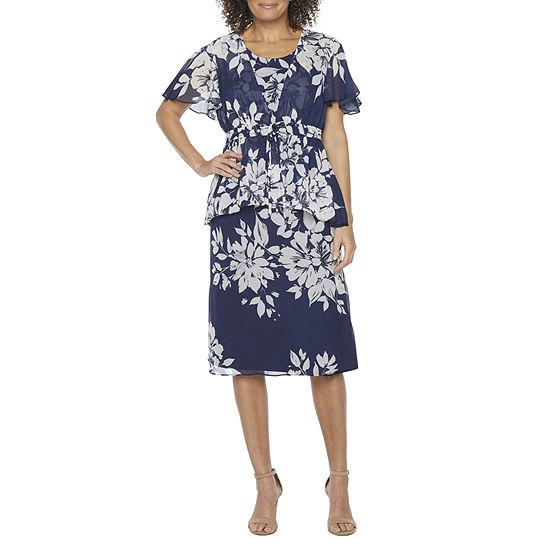 Studio 1 Short Sleeve Floral Midi Jacket Dress