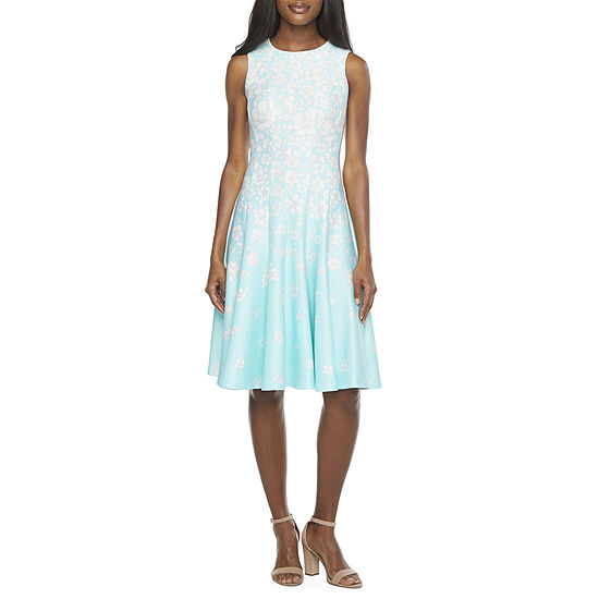 Danny & Nicole-Petite Sleeveless Floral Fit & Flare Dress with Coordinating Face Mask