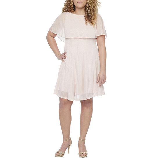 J Taylor-Petite Sleeveless Popover Fit & Flare Dress