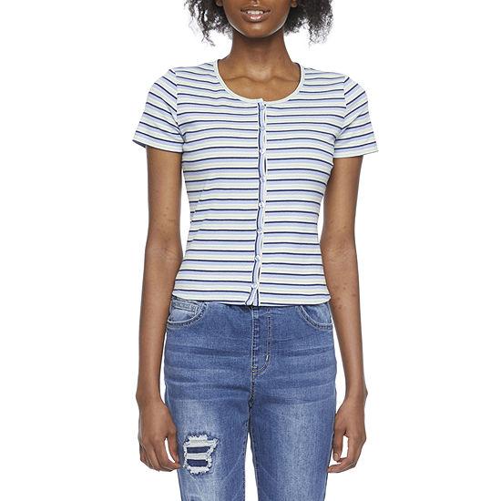 Belle Du Jour Juniors Womens Round Neck Short Sleeve T-Shirt