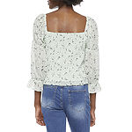 by&by-Juniors Womens Square Neck Long Sleeve Blouse