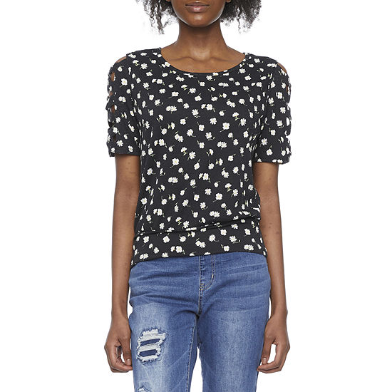 by&by-Juniors Womens Crew Neck Short Sleeve Knit Blouse