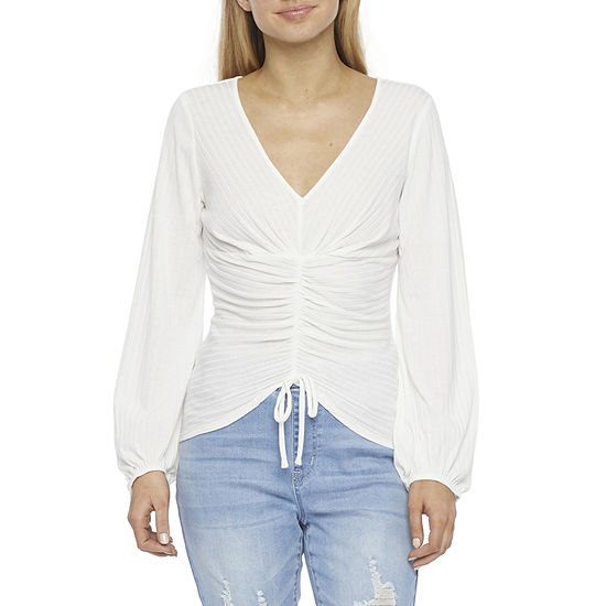 by&by-Juniors Womens V Neck Long Sleeve Blouse