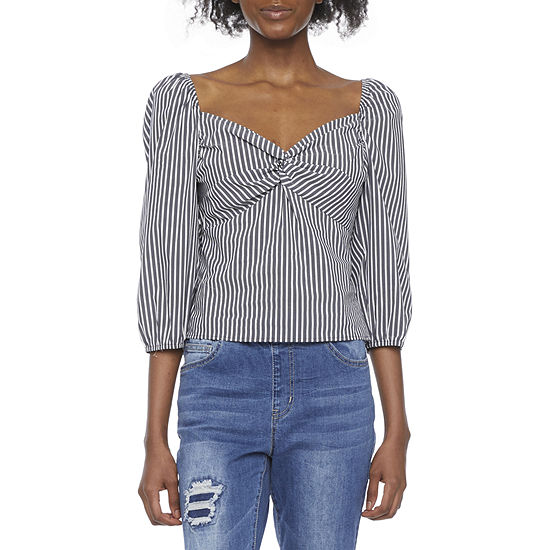 by&by Womens V Neck 3/4 Sleeve Babydoll Top-Juniors