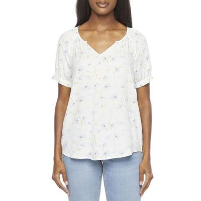 a.n.a Womens V Neck Short Sleeve Tunic Top