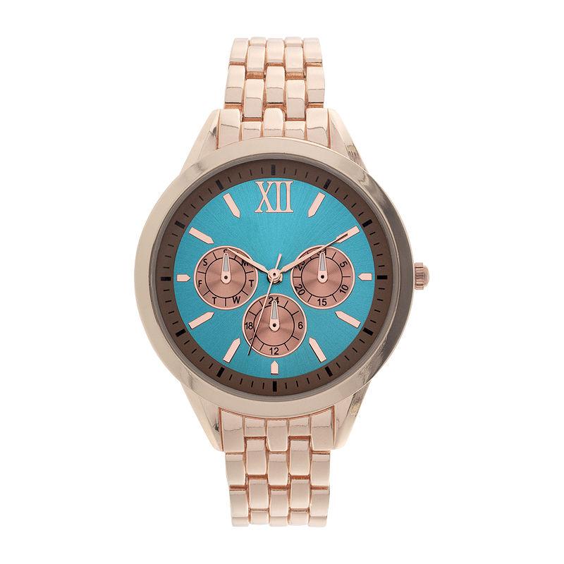 Womens Blue Dial Rose-Tone Bracelet Watch