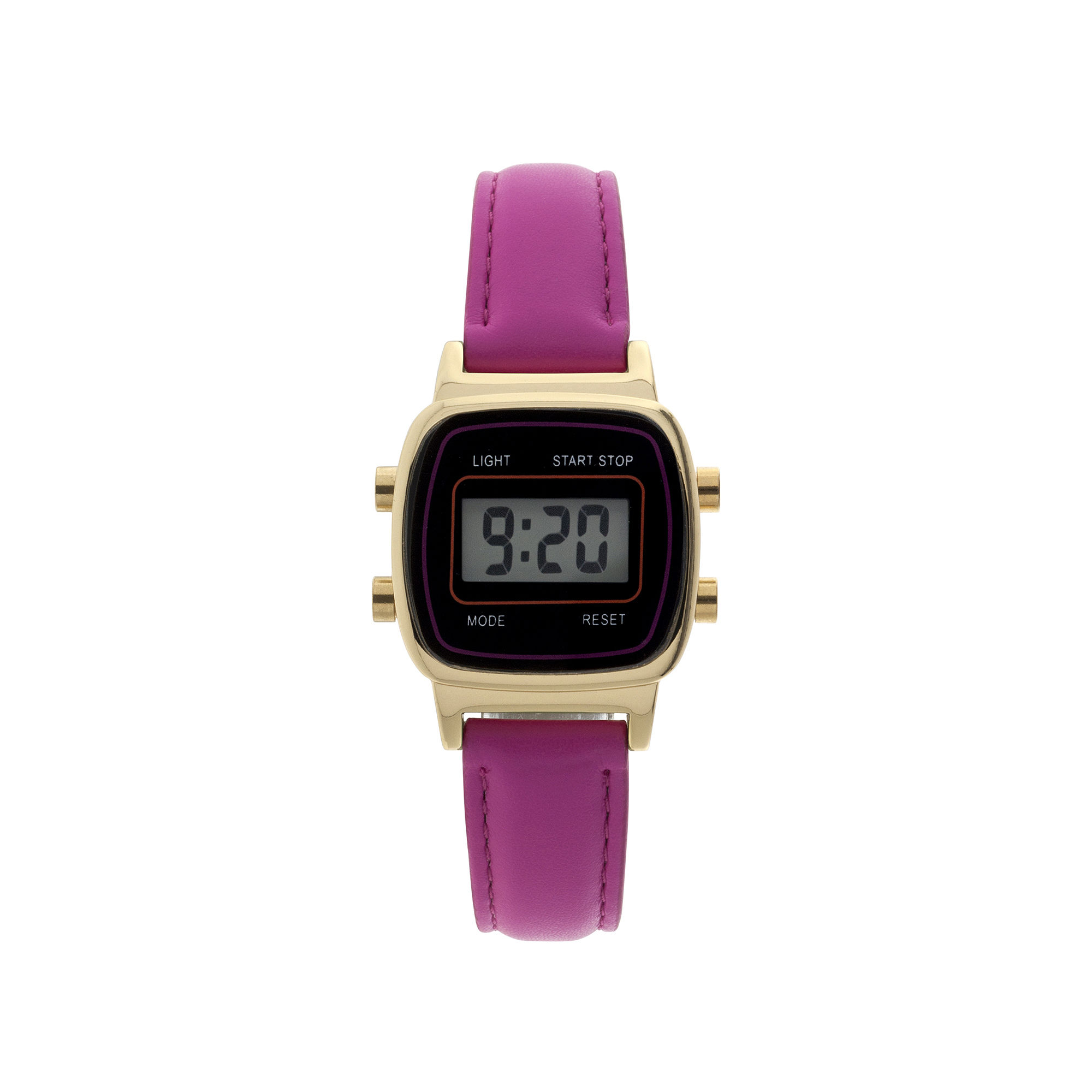 Womens Square Dial Pink Strap Digital Watch