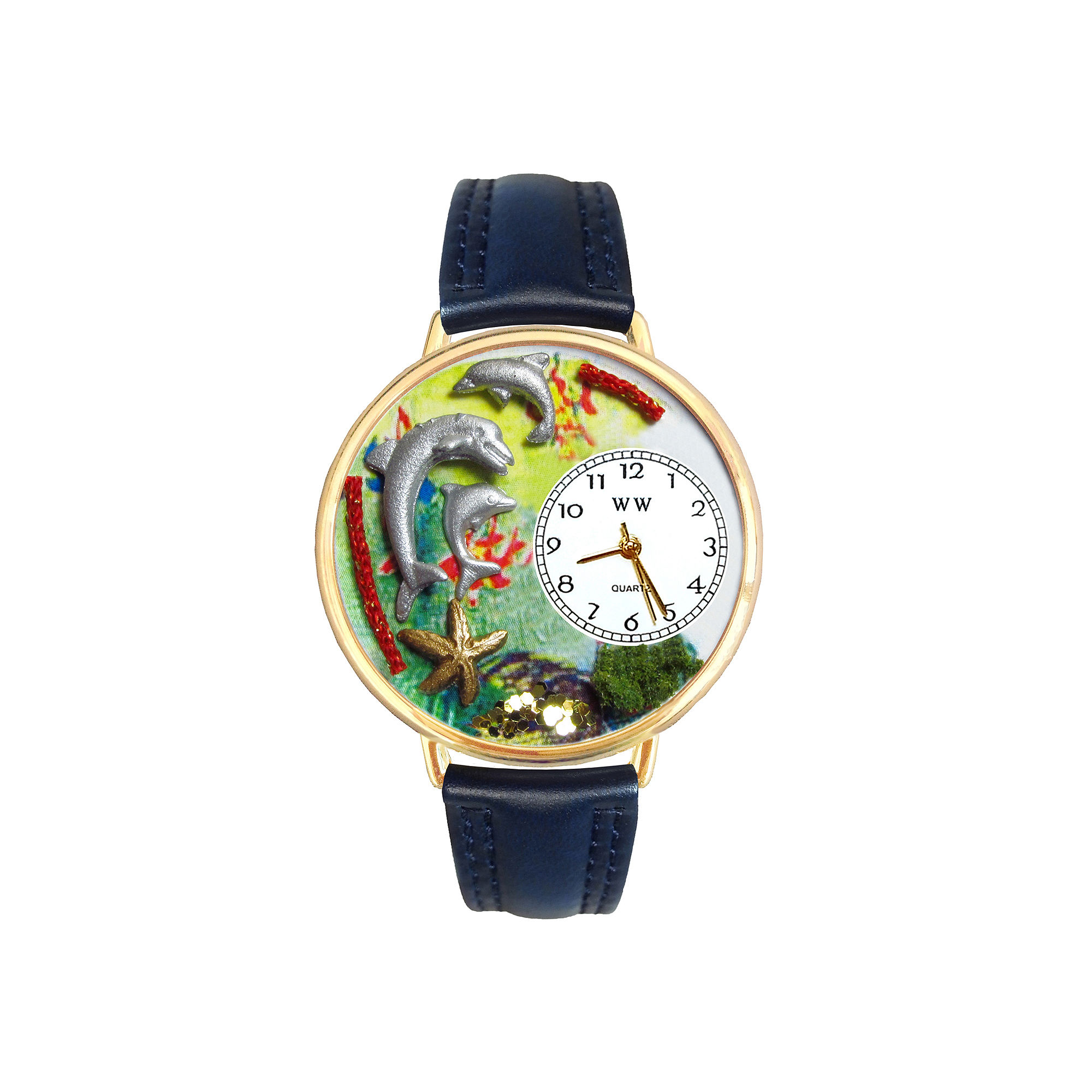 Whimsical Watches Personalized Dolphin Womens Gold-Tone Bezel Blue Leather Strap Watch