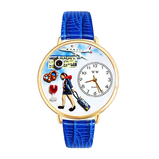 Whimsical Watches Personalized Flight Attendant Womens Gold-Tone Bezel Blue Leather Strap Watch