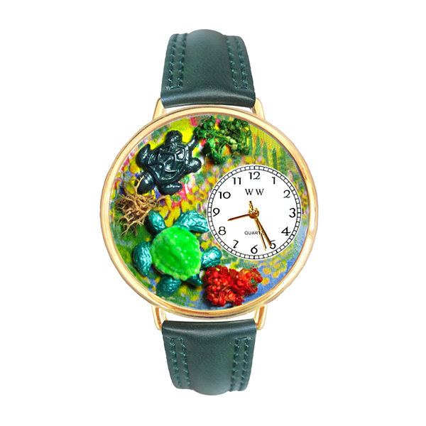 Whimsical Watches Personalized Turtle Womens Gold–Tone Bezel Green Leather Strap Watch