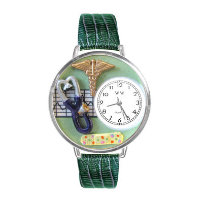 Whimsical Watches Personalized Nurse Womens Silver–Tone Bezel Green Leather Strap Watch