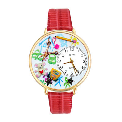 Whimsical Watches Personalized Preschool Teacher Womens Gold–Tone Bezel Red Leather Strap Watch