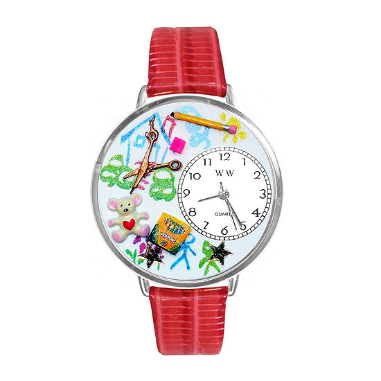 Whimsical Watches Personalized Preschool Teacher Womens Silver–Tone Bezel Red Leather Strap Watch
