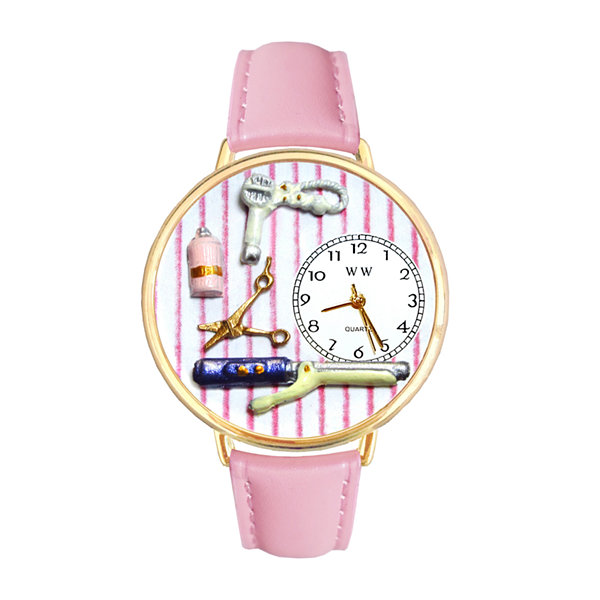 Whimsical Watches Personalized Beautician Womens Gold–Tone Bezel Pink Leather Strap Watch