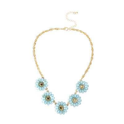 Mixit™ Gold-Tone Blue Flower Collar Necklace