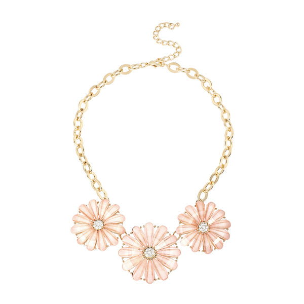 Mixit™ Gold-Tone Pink Flower Collar Necklace