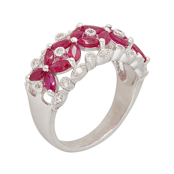 LIMITED QUANTITIES  Lead Glass-Filled Ruby and Genuine White Sapphire Ring