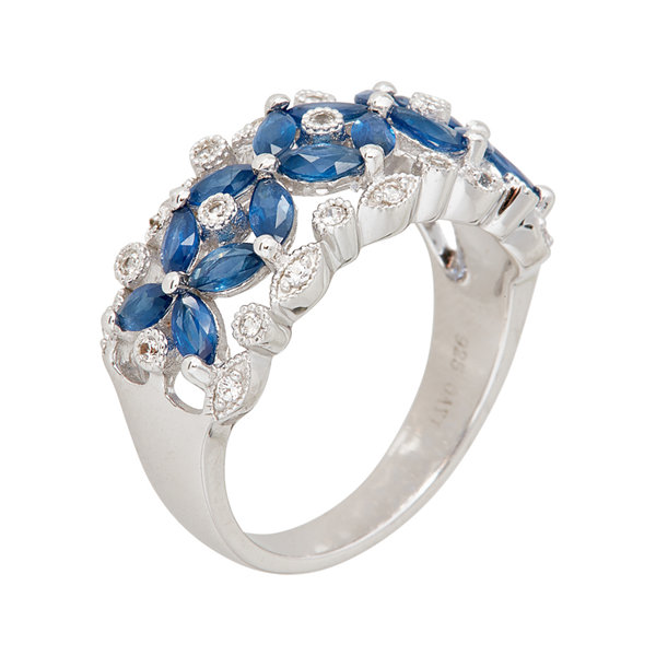 LIMITED QUANTITIES  Genuine Blue and White Sapphire Sterling Silver Ring
