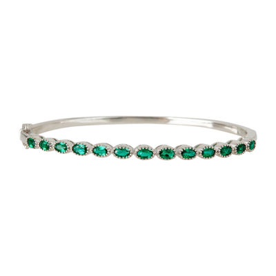 LIMITED QUANTITIES  Lab-Created Emerald Sterling Silver Bangle
