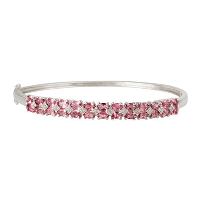 LIMITED QUANTITIES  Genuine Pink Tourmaline Sterling Silver Bangle
