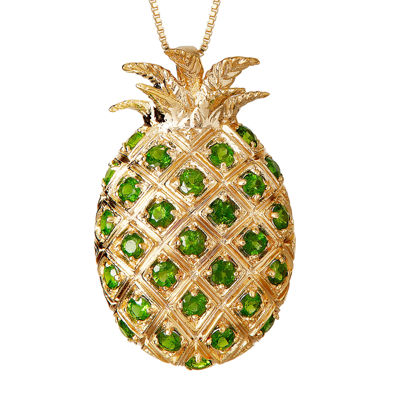 LIMITED QUANTITIES  Genuine Chrome Diopside Pineapple Pendant Necklace