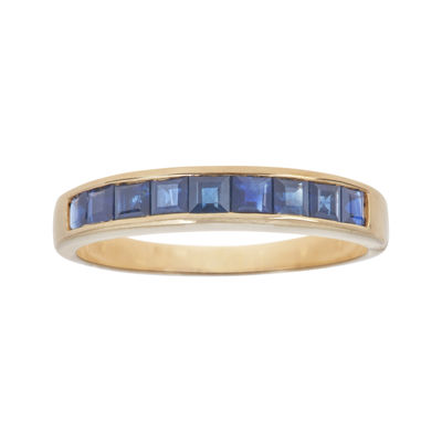 LIMITED QUANTITIES  Genuine Blue Sapphire Channel-Set 10K Yellow Gold Band