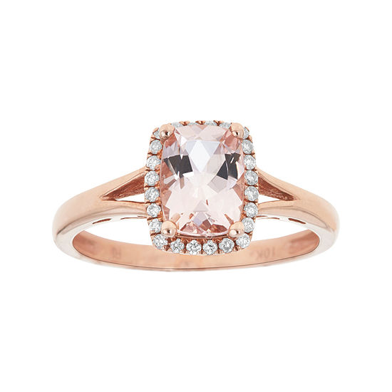 LIMITED QUANTITIES  Genuine Morganite and 1/8 CT. T.W. Diamond Rose Gold Ring