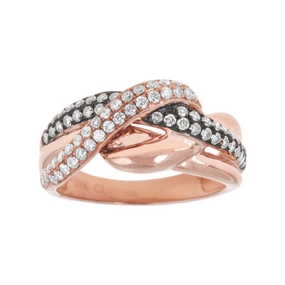 LIMITED QUANTITIES  3/4 CT. T.W. White and Champagne Diamond 10K Rose Gold Crossover Ring