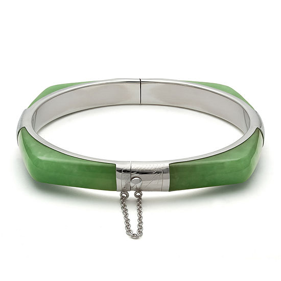 Dyed Green Quartz and Sterling Silver Bangle