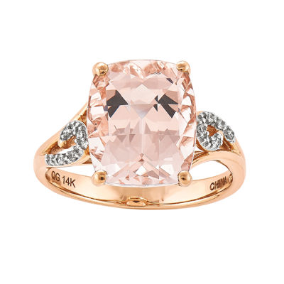 Genuine Morganite and Diamond-Accent 14K Rose Gold Ring