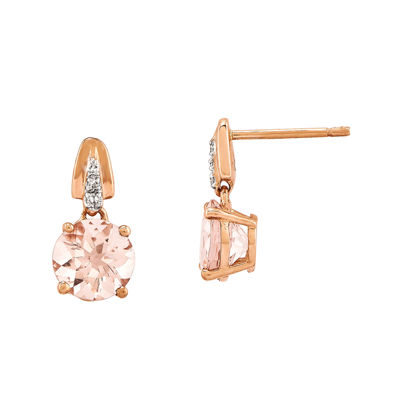 Genuine Morganite and Diamond-Accent 14K Rose Gold Dangle Earrings