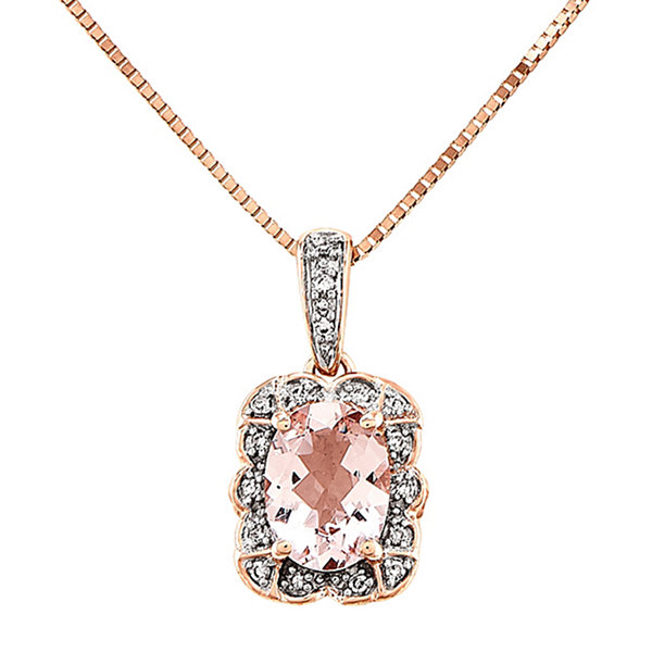 Genuine Morganite and Diamond-Accent 14K Rose Gold Pendant Necklace