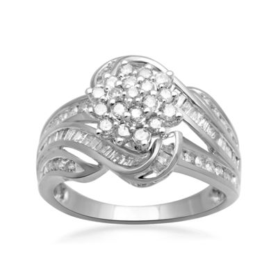 1 CT. T.W. Diamond 10K White Gold Cluster Ring