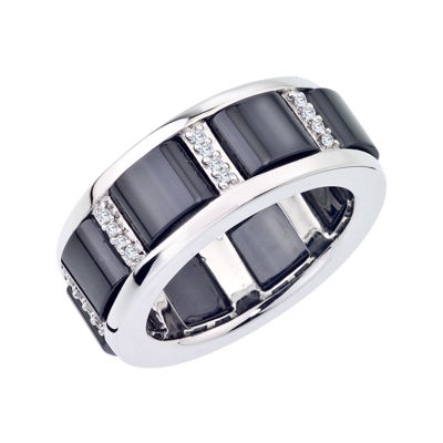 1/6 CT. T.W. Diamond Black Ceramic and Sterling Silver Buckle Band