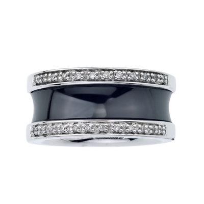 1/6 CT. T.W. Diamond Black Ceramic Concave Band