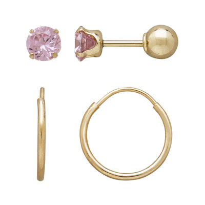 Infinite Gold™ Kids 14K Yellow Gold Pink Cubic Zirconia Stud and Hoop 2-pr. Earring Set