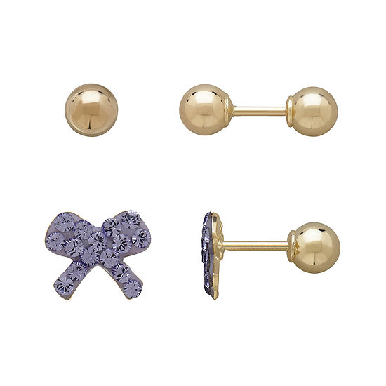 Infinite Gold™ Kids 14K Yellow Gold Purple Crystal-Accent Bow and Ball Stud 2-pr. Earring Set