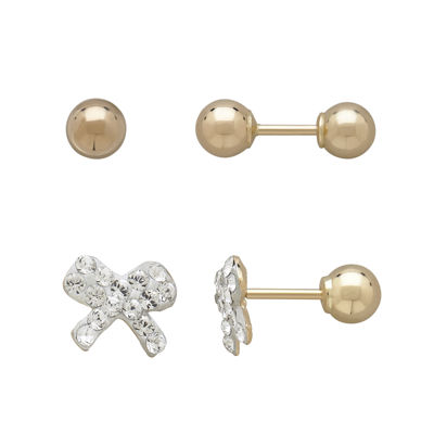 Infinite Gold™ Kids 14K Yellow Gold Crystal-Accent Bow and Ball Stud 2-pr. Earring Set