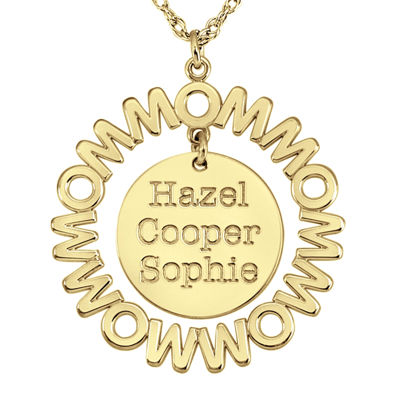 Personalized Mom and Children Circle 27mm Pendant Necklace