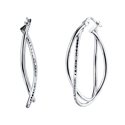 Sterling Silver Crisscross Oval 24mm Hoop Earrings