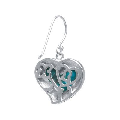 Enhanced Turquoise Sterling Silver Heart Drop Earrings