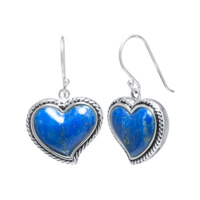 Dyed Lapis Sterling Silver Heart Drop Earrings