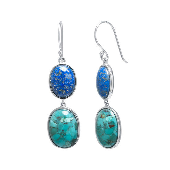 Enhanced Turquoise And Dyed Lapis Sterling Silver Oval Double Drop Earrings