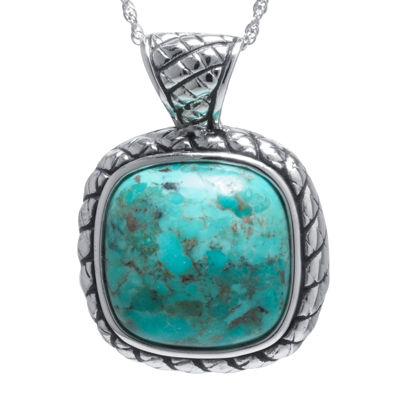 Enhanced Turquoise Sterling Silver Square Pendant Necklace