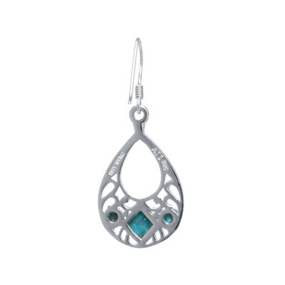 Enhanced Turquoise Sterling Silver Openwork Teardrop Earrings